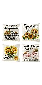 summer sunflower pillow covers set of 4