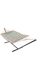 Sunnydaze Rope Hammock with 12-Foot Stand - Pad amp; Pillow - Multi-Color Chevron