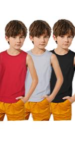 Boyoo Big Boys Youth 3 Pack Active Athletic Tank Tops Dri Fit Sleeveless T Shirts for 5-16Years