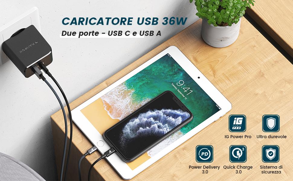 Caricatore USB 36W QC3.0 PD3.0