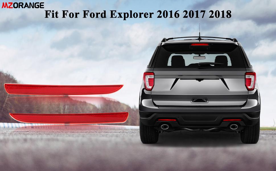 MZORANGE Rear Bumper Reflector Stop Brake Light Cover For Ford Explorer 2016 2017 2018