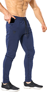 Mens Tapered Gym Jogger Pants,Causal Slim fit Workout Fitness Running Sweatpants with Zip Pocket