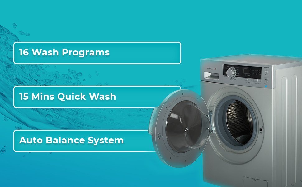 amstrad front load fully automatic washing machine 6kg 7kg 16 wash program 15 minute quick wash