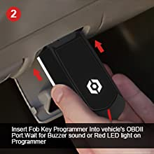 Insert Programmer Into vehicle's OBDII Port.Wait for Buzzer sound or Red LED light on Programmer