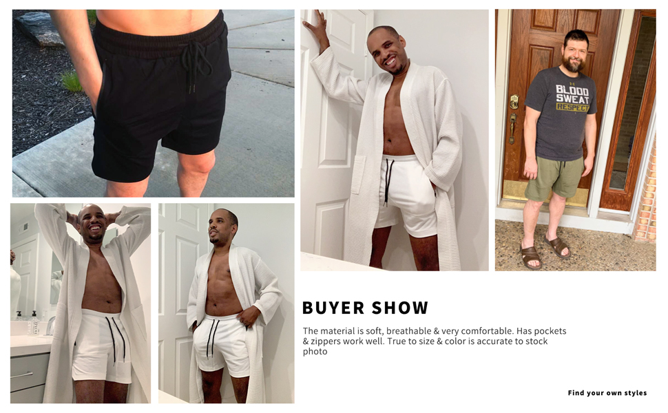 Mens Shorts Casual Elastic Waist Athletic Gym Summer Beach Shorts with Pockets