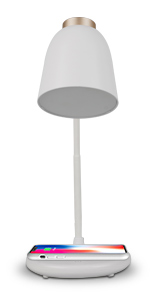 white desk lamp with wireless charger