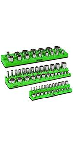 3-Piece Set Green SAE Magnetic Socket Organizers