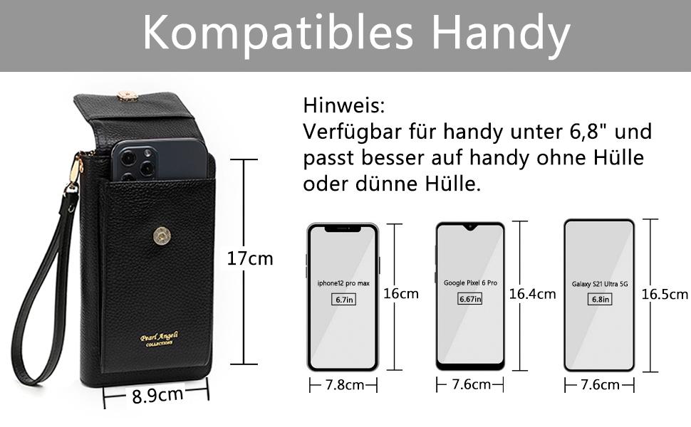 Leder Handy Umhängetasche Handytasche Geldbörse Damen RFID Schutz