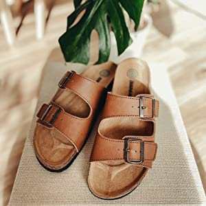 Men's mules light brown with footbed