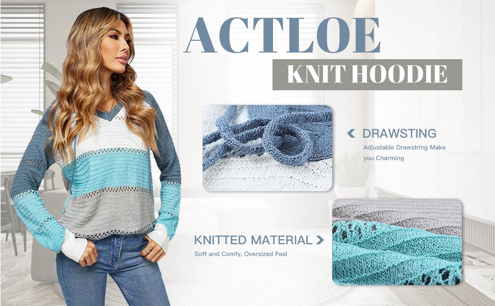 Actloe Womens Lightweight Color Block Hooded Sweaters Drawstring Hoodies Pullover Sweatshirts