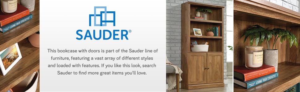 Sauder 5 Shelf Bookcase W/doors in a Lintel Oak finish