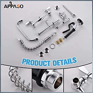 Commercial Sink Faucet Wall Mount Pre-Rinse Faucet with Sprayer 25 Height 8 Center Wall Moun