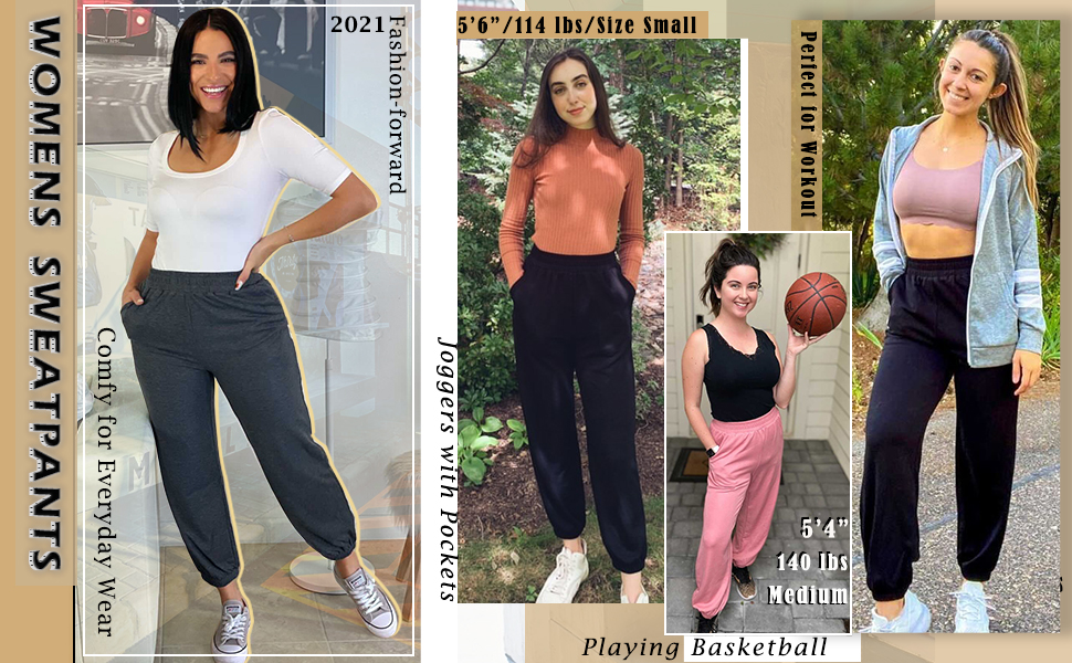 high waisted sweatpants for women with pockets
