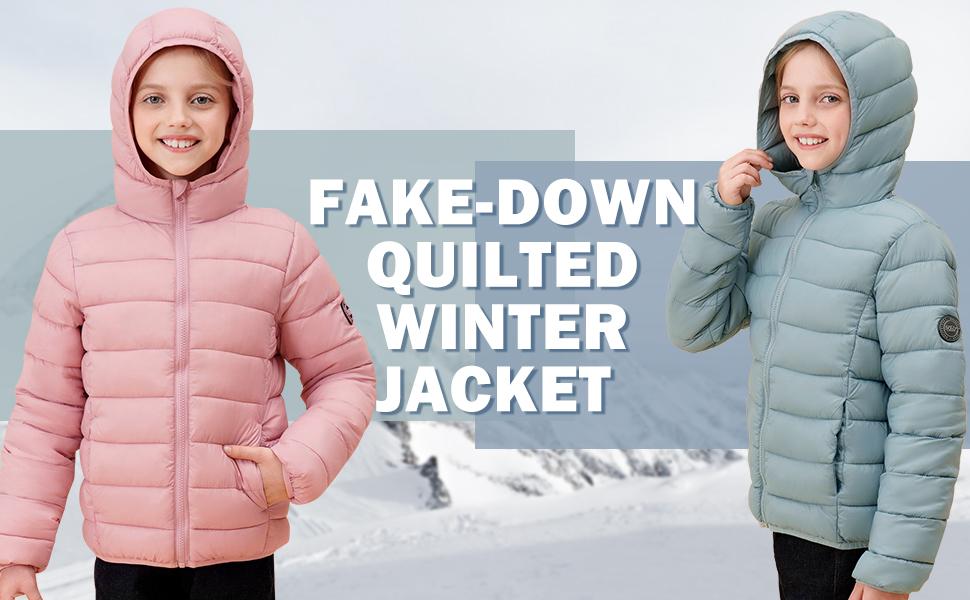 girls puffer winter coat hooded packable