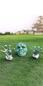Halloween Zombie Face and Arms Lawn Stakes Graveyard
