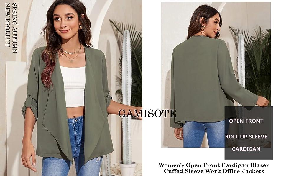 GAMISOTE Women's Open Front Cardigan Blazer Long Sleeve Work Office Jackets