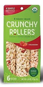 Friendly Grains Crunchy Rollers Strawberry. Allergen Friendly puffed brown rice snacks.