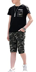 boys summer shorts set black