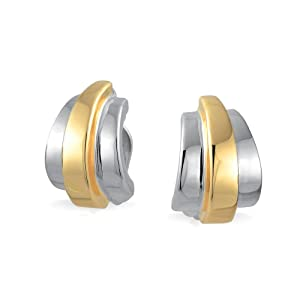 Geometric Two Tone Shrimp Half Hoop Clip On Earrings Polished 14K Gold Silver Plated Brass