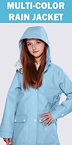 girls colorful waterproof rain jacket