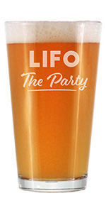Text says LIFO the Party in bold text, engraved onto a pint glass