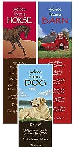 horse, barn, dog bookmarks