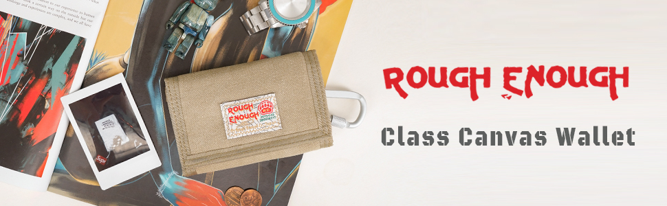 Rough Enough Small Canvas Front Pocket Wallet Keychain Wallet Credit Card Holder for Men Women Boys