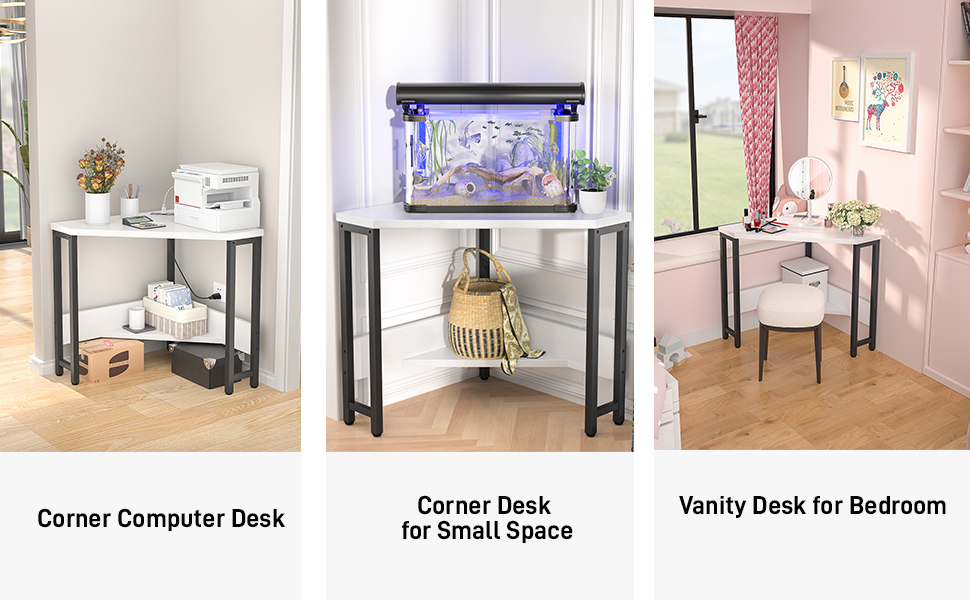 Corner desk Small desk Computer desk desk triangle desk white vanity Corner table Corner
