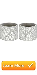 Modern White Gray Flower Pot Cylinder Planter Art Deco Fan Leaf Pattern, Set 2