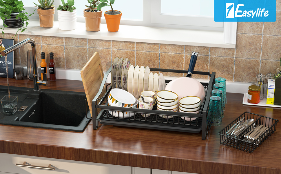 """Dish Drying Rack Over Sink Adjustable (25.6""""-33.5""""),2 Tier Stainless Steel Length"""