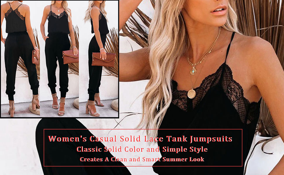 Women's Casual Solid Lace Tank Jumpsuits V-Neck Spaghetti Strap Romper Sleeveless Long Jumpsuit