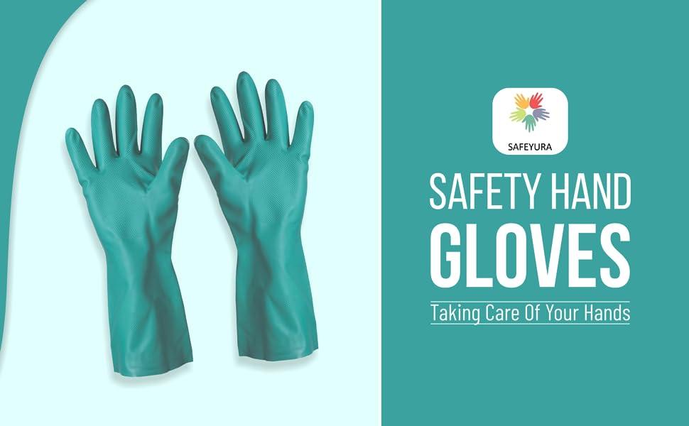 SAFEYURA Gardening Nitrile Hand Gloves, Nitrile Gloves for Garden and Soil Works - 2 Pairs SPN-FOR1