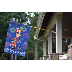 House flag on pole with Uncle Sam design