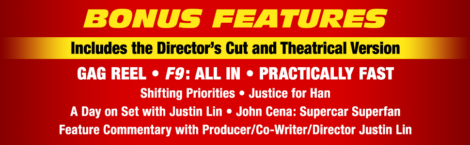 f9 the fast saga director's cut theatrical version gag reel feature commentary