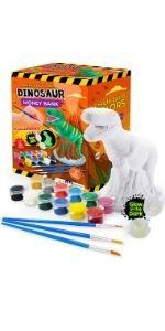 Hucha de cerámica para pintar DIY Manualidades Regalos para Niños Niñas Cumpleaños dinosaurio5 6 7