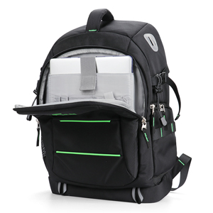 The front bag can fit a 14-inch laptop
