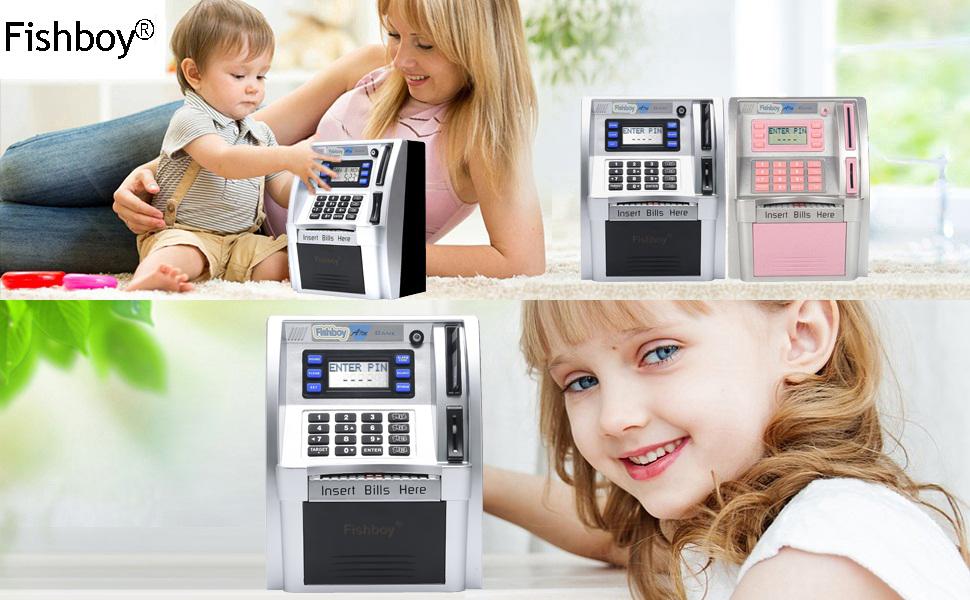 atm savings piggy bank machine for real money for kids( girls for black )