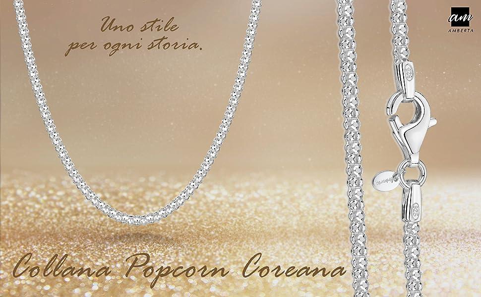 Amberta Gioielli - Collanina - Catenina Argento Sterling 925 - Modello Pop Corn
