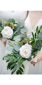 7 inch White and Green Posy Bridesmaid Bouquets (Set of 4)