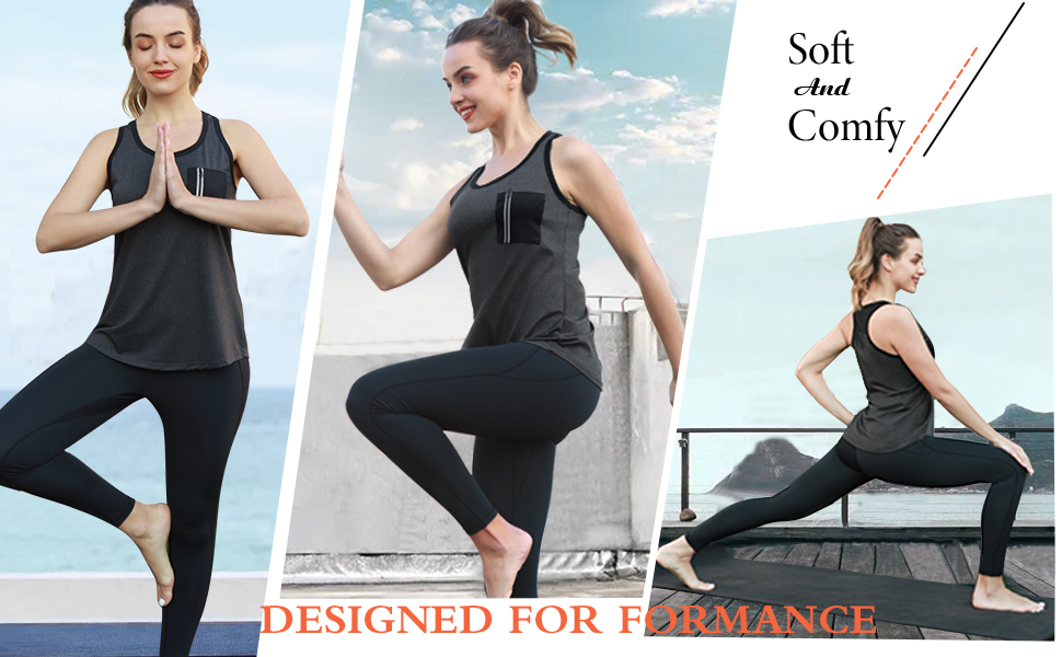 Women's Sleeveless Workout Shirts Exercise Running Tank Tops Active Gym Tops