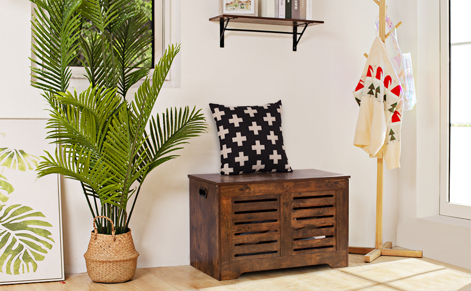 storage chest with safety hinges for living room