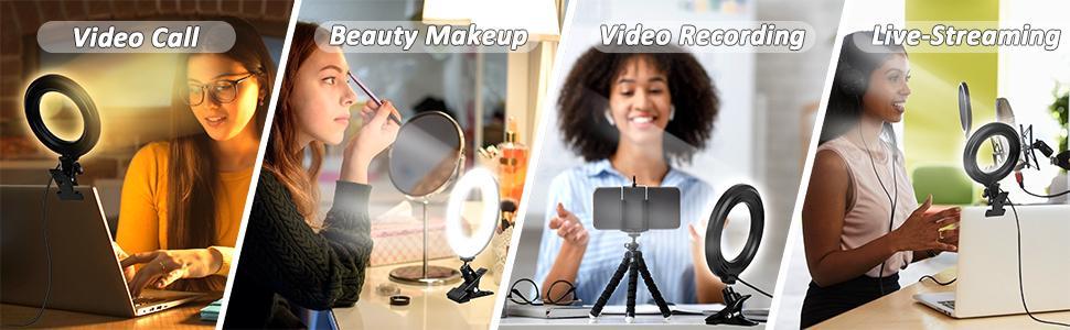 Das Ringlicht kann für Live-Streaming, Fernunterricht, Make-up usw. verwendet werden.