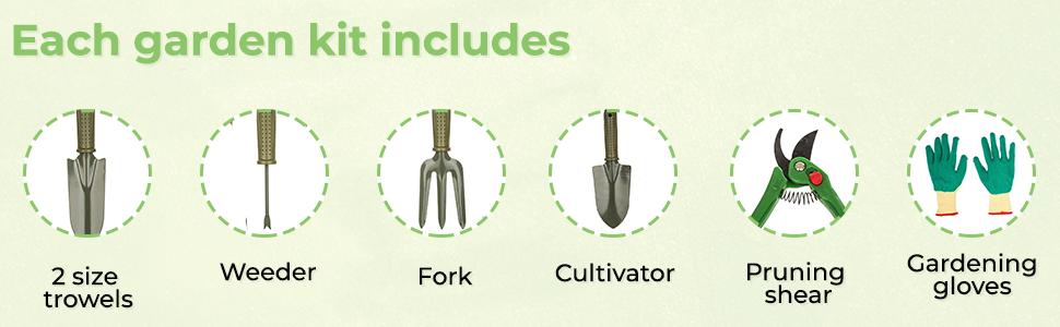 Bulfyss 7 Pieces Gardening Tools - Seed Handheld Shovel Rake Spade Trowel with Pruning  SPN-FOR1