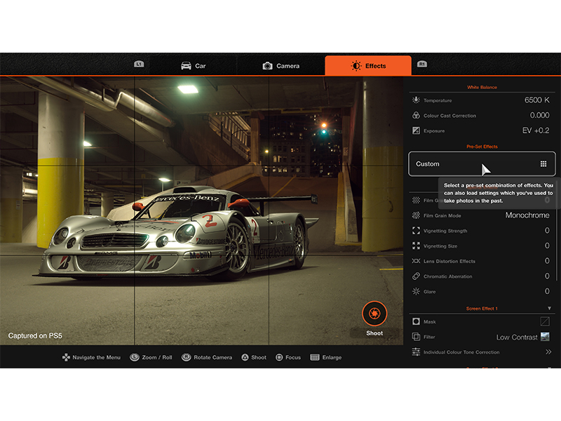 Screenshot of car settings menu