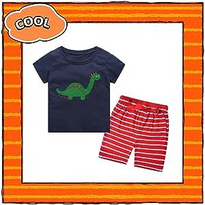 dinosaur t-shirt + red striped shorts