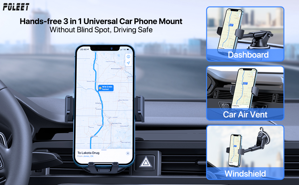 Poleet Hands-free 3 in 1 Universal Car Phone Mount