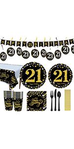 21st birthday decoration plates and napkins