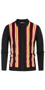 mens vintage striped cardigan polo lapel collar button down long sleeve slim fit knitted sweater