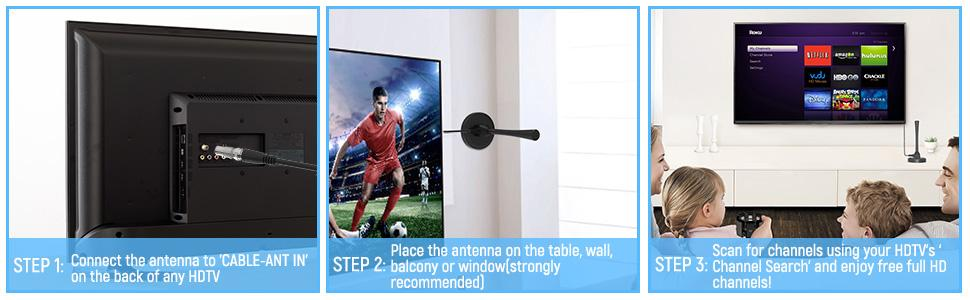 Easy to use and enjoy free local channels 4K TV antenna indoor