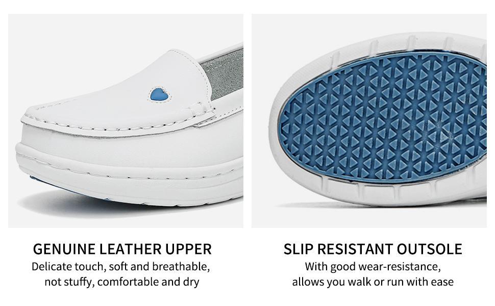 Women's Nursing Shoes,Leather Comfortable Non Slip Flat Slip on Loafers Restaurant Work Nurse Shoes